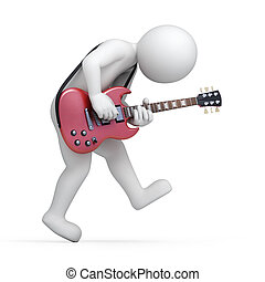 guitarist, 3d man with a guitar, illustration with a work...