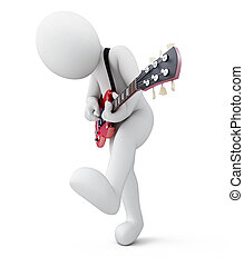 guitarist, 3d man with a guitar, illustration with a...