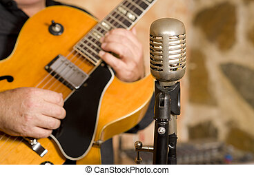 Guitarist - A classic steel guitar and a vintage microphone