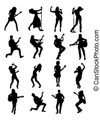 Guitarist and Singer Silhouettes