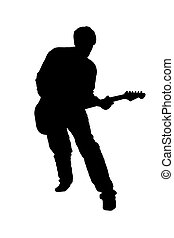Guitarist - Black silhouette of a playing guitarist, on...