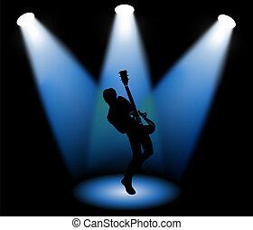 Guitarist on stage, vector illustration