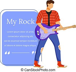 Guitarist flat color vector illustration. Guitar player. Rock musician. Isolated cartoon character. Quote blank frame template. Rectangular blue speech bubble. Quotation, citation text box design.