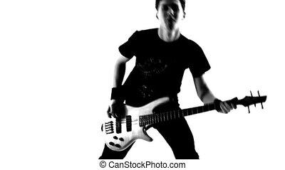 Guitarist in a studio