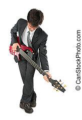 guitarist in suit