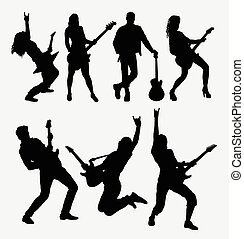 Guitarist music player silhouette - Guitarist male and...