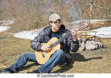 guitarist, picknick, spelend