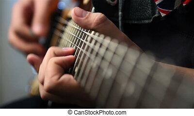 Playing Guitar Solo - Guitarist Playing Guitar Solo An...