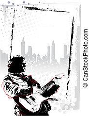 guitarist poster - illustration of guitarist