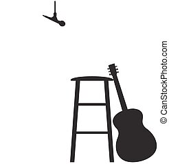 Guitarist Recording Session Stool Set Up Silhouette - A...