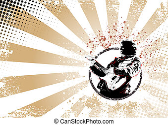 guitarist retro poster background