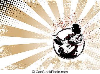 guitarist retro poster background