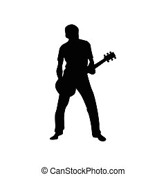 Guitarist silhouette black isolated on white background