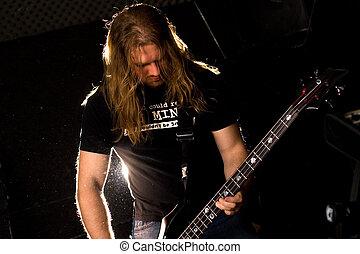 guitarist, solo., spelend, rots