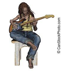 Guitarist - Dark-skinned man with dreadlocks playing the...