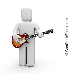 Guitarist - 3d Guitarist. Isolated on white