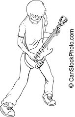 Guitarist - Outline illustration of a man playing guitar