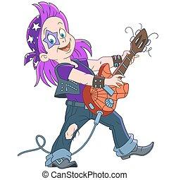 guitariste, dessin animé, rocher