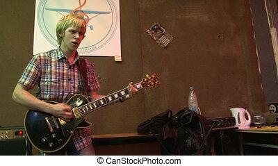 guitariste, groupe, rocher