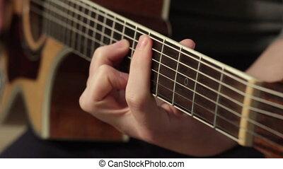 guitariste, guitar., instrument musical, mains, acoustique, jouer