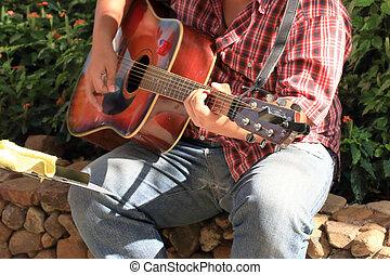 guitariste, parc