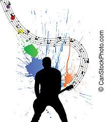 guitariste, rocher