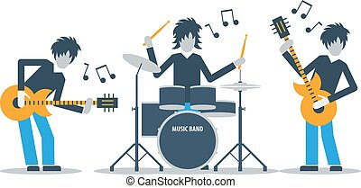 Guitarists and drums playing music, three musicians, rehearsal concept