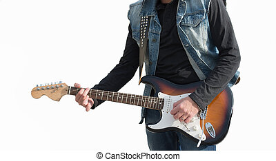 Guitarists on white background