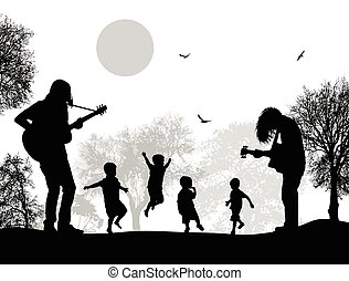 Guitarists playing near childrens