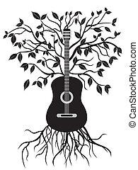 guitarra, árbol