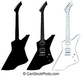 guitarra, 14.eps, vetorial, elétrico