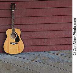 guitarra acústica, contra, um, antigas, prancha, wall.