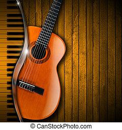 guitarra acústica, e, piano, madeira, fundo