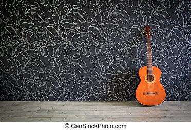 guitarra acústica, em, quarto vazio, fundo