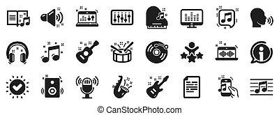 guitarra acústica, musical, jogo, record., icons., nota música, vetorial, vinil