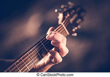 guitarra, acústico, aprendizagem
