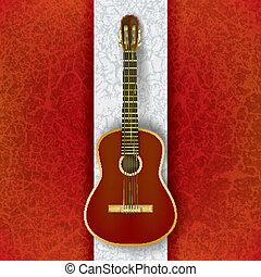 guitarra, acústico, blanco