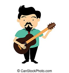 guitarra, acústico, cantor, silueta, coloridos