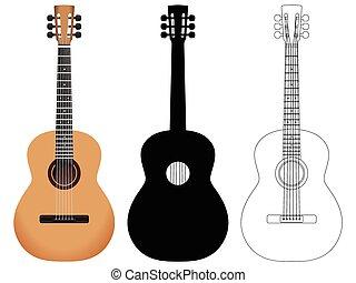 guitarra, acústico, conjunto