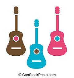 guitarra, acústico, cores, simples