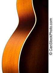 guitarra, acústico, cuerpo, detalle