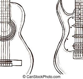 guitarra, acústico, eléctrico