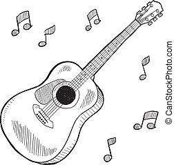 guitarra, acústico, esboço