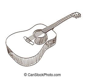 guitarra, acústico, estilo, arte, linha