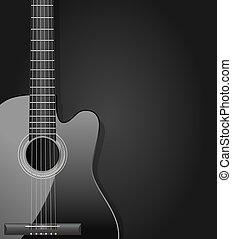 guitarra, acústico, fondo oscuro, negro