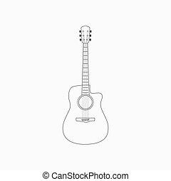 guitarra, acústico, icono