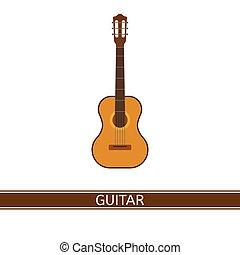 guitarra, acústico, isolado