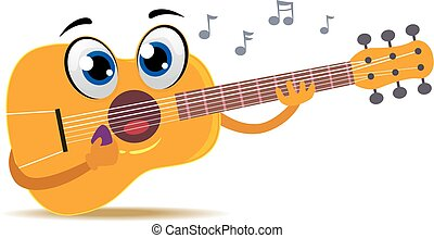 guitarra, acústico, itself, tocando, mascote