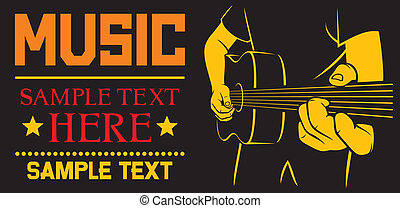 guitarra, acústico, juego, cartel