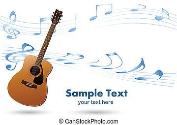 guitarra, acústico, música, fundo